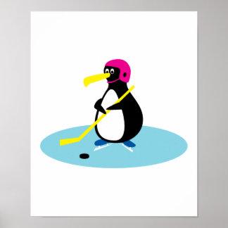 cute hockey penguin poster