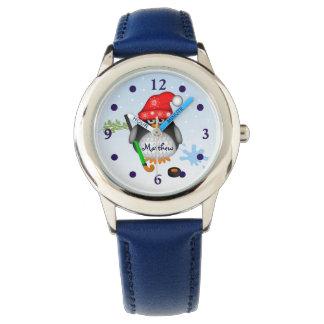 Cute Hockey penguin with custom Name Wristwatch