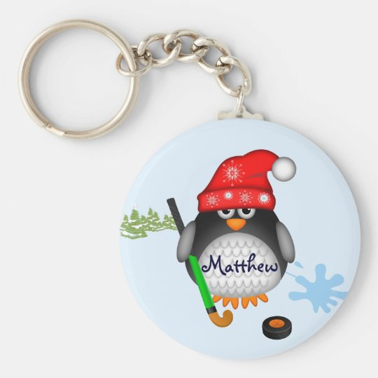 Cute Hockey penguin with hat and custom name