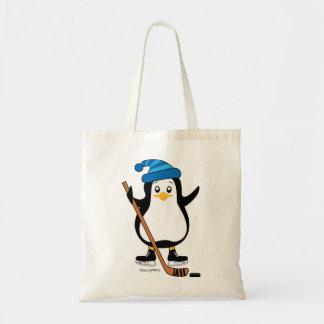 Cute Hockey Penguin with Hockey Stick Tote Bag