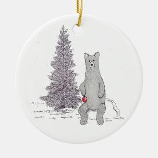 "Cute Holiday Bear Ornament. ""Tis the season"" Round Ceramic Decoration"