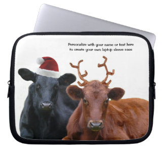 Cute Holiday Beef Cows Personalized Laptop Sleev e Laptop Sleeve