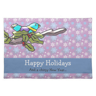Cute Holiday Bird and Holly Holiday Placemat