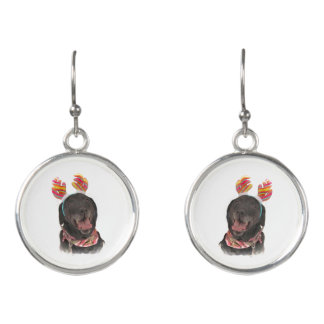Cute Holiday Black Labrador Retriever Dogs Earrings