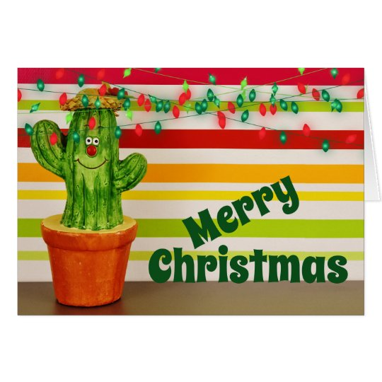 Cute Holiday Cactus Southwestern Merry Christmas Card