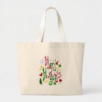 Cute Holiday Christmas Slogan Large Tote Bag