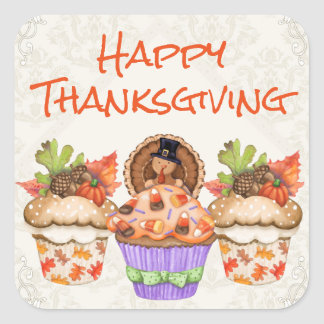 Cute Holiday Cupcakes Happy Thanksgiving Square Sticker