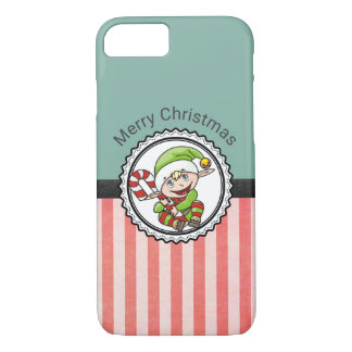 Cute Holiday Elf with Candy Cane Merry Christmas iPhone 7 Case