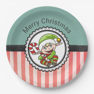 Cute Holiday Elf with Candy Cane Merry Christmas Paper Plate