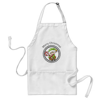 Cute Holiday Elf with Candy Cane Merry Christmas Standard Apron