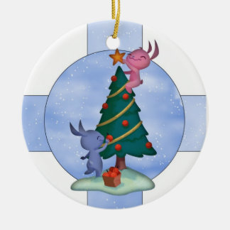 Cute Holiday Ornament With Little Rabbits