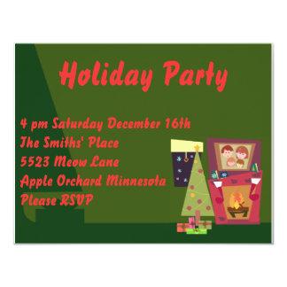 "Cute Holiday Party Invites 4.25"" X 5.5"" Invitation Card"