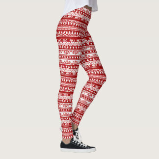 Cute Holiday Patten Leggings in Red