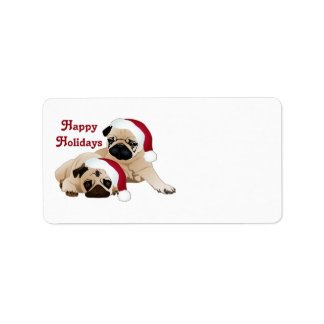 Cute Holiday Pugs Tees and gifts Address Label