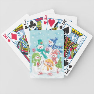 Cute Holiday Snowman Family Poker Deck