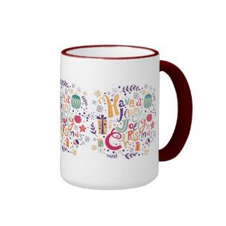 Cute Holly Jolly Retro Christmas Text Design Ringer Mug