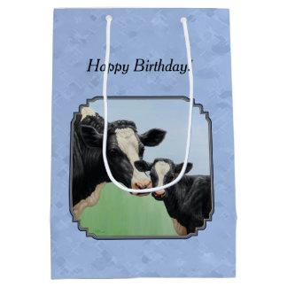 Cute Holstein Calf & Cow Sky Blue Medium Gift Bag