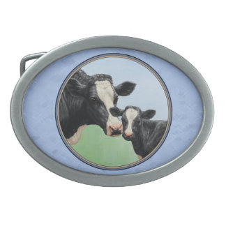 Cute Holstein Calf & Cow Sky Blue Oval Belt Buckles