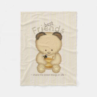 Cute Honey Bear And Bee Best Friends Fleece Blanket