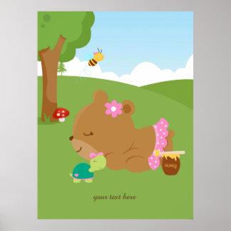 Cute honey bear poster