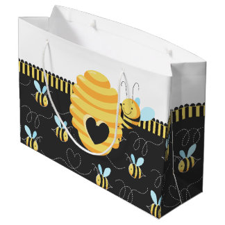 Cute Honey Bee Buzzing Around Hive Large Gift Bag