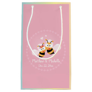 Cute Honey Bee Couple Pink Wedding Thank You Favor Small Gift Bag