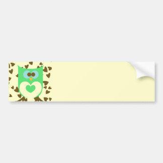 Cute Hoot Owl with Hearts Bumper Stickers