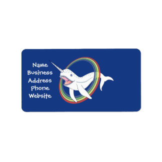 Cute Horn Narwhal With Rainbow Cartoon Address Label