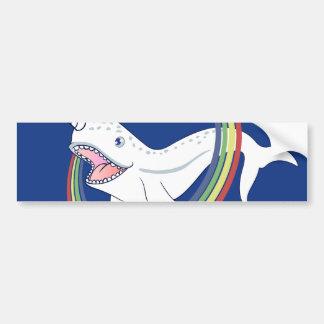 Cute Horn Narwhal With Rainbow Cartoon Bumper Sticker