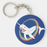 Cute Horn Narwhal With Rainbow Cartoon Basic Round Button Key Ring