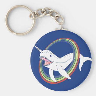 Cute Horn Narwhal With Rainbow Cartoon Key Ring