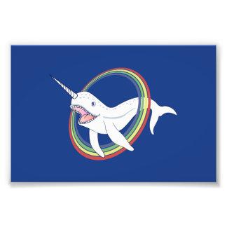 Cute Horn Narwhal With Rainbow Cartoon Photo