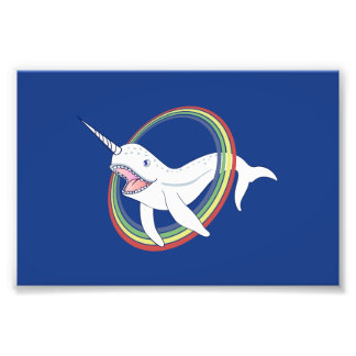 Cute Horn Narwhal With Rainbow Cartoon Photo Print