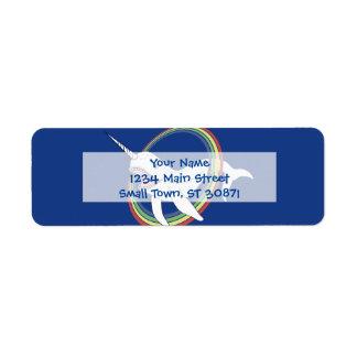 Cute Horn Narwhal With Rainbow Cartoon Return Address Label