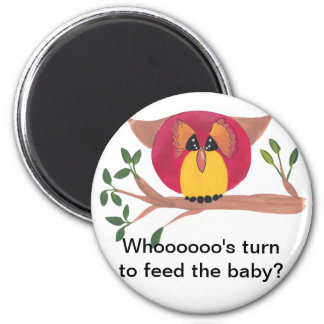 Cute Horned Owl Painting 6 Cm Round Magnet