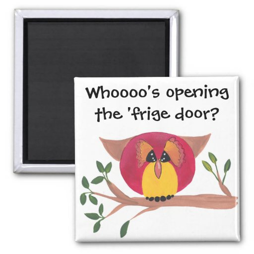 Cute Horned Owl Painting Refrigerator Magnets
