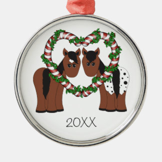 Cute Horse Couple Christmas Ornament