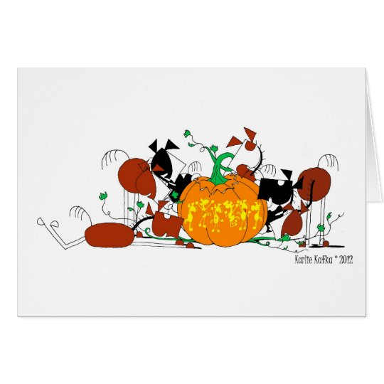 Cute Horse Herd with Carved Pumpkin Card
