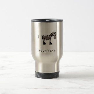 Cute Horse; Metal-look Travel Mug