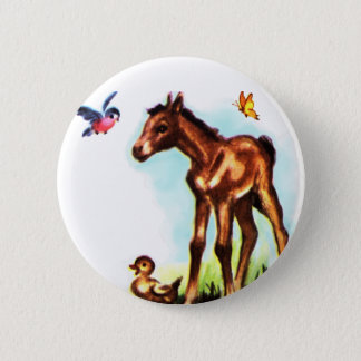 Cute Horse Pony Baby Foal 6 Cm Round Badge
