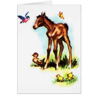 Cute Horse Pony Baby Foal Greeting Card