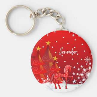 Cute Horse, Snowflakes & Xmas Trees custom Name Basic Round Button Key Ring