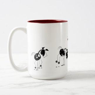 Cute Horses Running Cartoon Two-Tone Mug