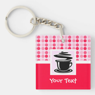 Cute Hot Coffee Double-Sided Square Acrylic Keychain