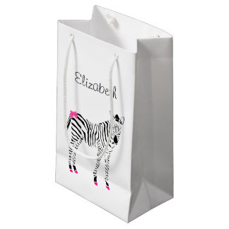 Cute Hot Pink and Black Girly Zebra With Name Small Gift Bag