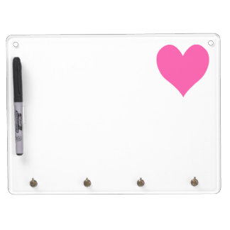 Cute Hot Pink Heart Dry Erase Board With Key Ring Holder
