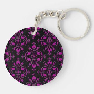Cute Hot Pink over Black Damask Double-Sided Round Acrylic Key Ring