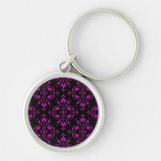 Cute Hot Pink over Black Damask Keychains