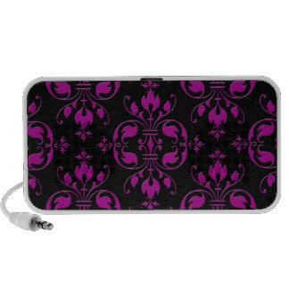 Cute Hot Pink over Black Damask Mini Speakers
