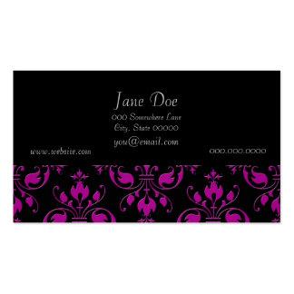 Cute Hot Pink over Black Damask Pack Of Standard Business Cards